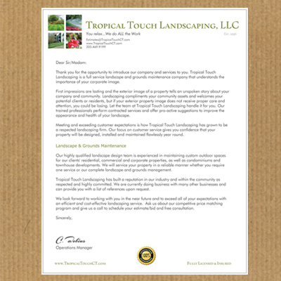 landscaping proposal letter Akwesasne mohawk casino request for proposal: landscape and maintenance march 9, 2012.